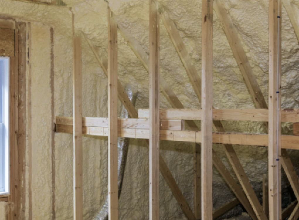 spray foam insulation installed in home office